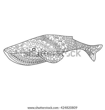 blue whale zentangl style doodle drawing, coloring for adults, ethnic floral ornament,