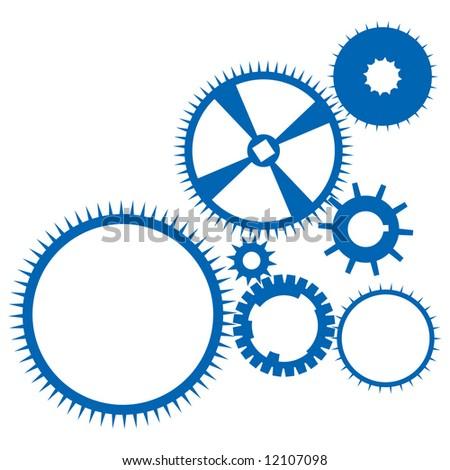 Blue wheels on white background - stock vector