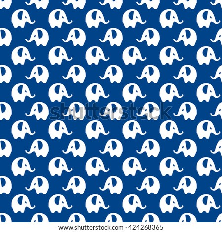 blue & white elephants pattern, seamless texture background - stock vector