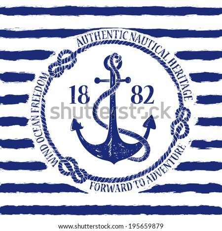 Blue white nautical emblem with anchor on a striped background - stock vector