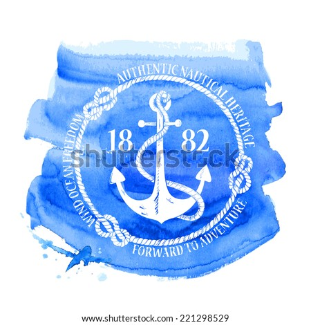 Blue white nautical emblem with anchor on a watercolor background - stock vector