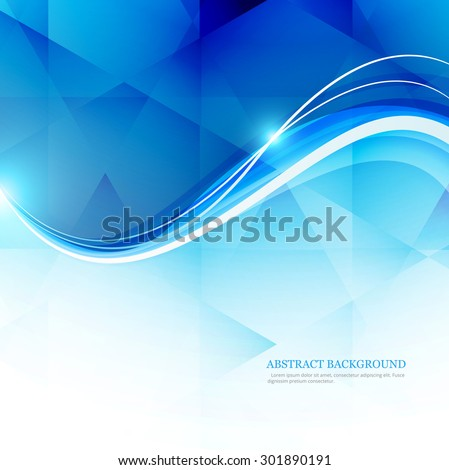 Blue White Polygonal Mosaic line wave Background Vector - stock vector