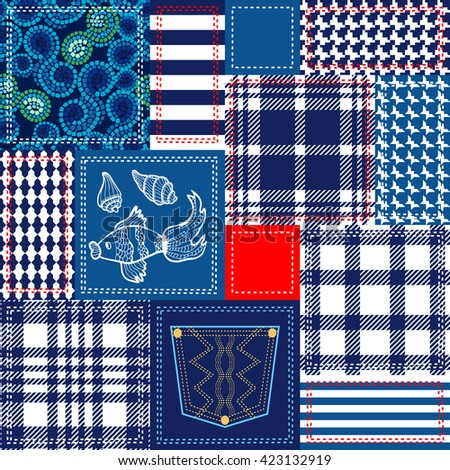 Blue, white, red patchwork with nautical motifs. Bohemian collage from cotton flaps. Set of seamless patterns. Checkered fabrics, seabed, fishes, stripes, jeans pocket. Retro textile collection. - stock vector