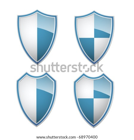 blue-white shields collection, vector illustration - stock vector