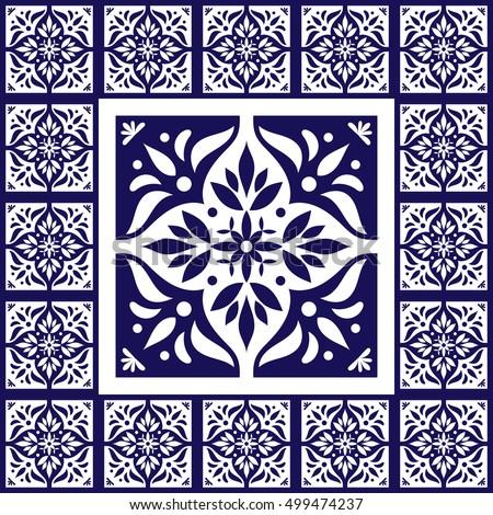 Blue white tiles floor pattern vector stock vector for Blue and white cement tile