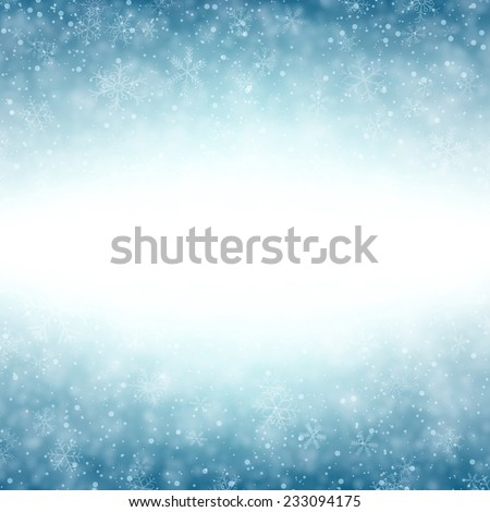 Blue winter abstract background. Christmas background with snowflakes. Vector.  - stock vector