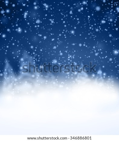 Blue winter background with fir-trees. Vector paper illustration. - stock vector