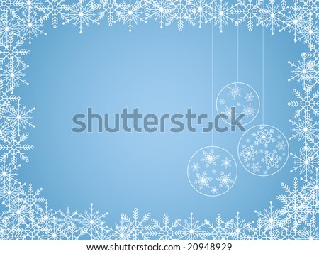 Blue winter blank with christmas balls - stock vector