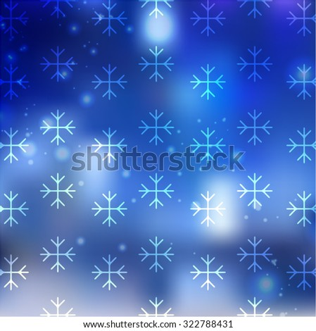 Blue Winter Blur Background with Snowflakes