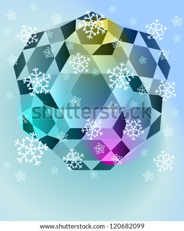 blue winter diamond with falling snow card vector template - stock vector