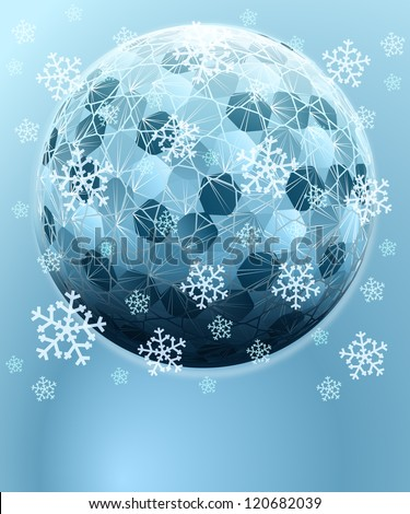 blue winter hexagonal sphere with falling snow card vector template - stock vector