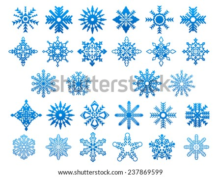 Blue winter ornate snowflakes on white background for Christmas and New Year holidays decorations design - stock vector