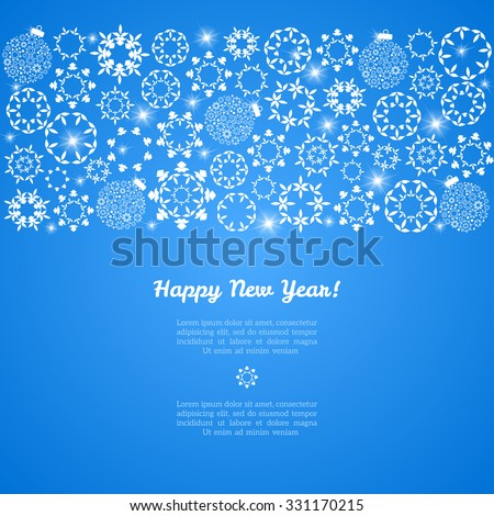 Blue winter vintage background. Vector illustration. Various winter snowflakes. Christmas background. Happy New Year. Place for your text. Season greetings. Holiday event invitation template. - stock vector