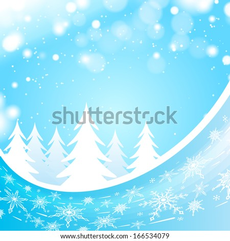 Blue winter wave background with snowflakes and christmas trees