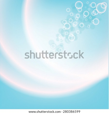 blue with bubbles background with white waves poster or billboard - stock vector