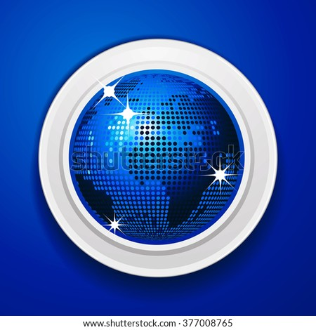 Blue World Globe Disco Ball Style on Circular White Frame Over Blue Background