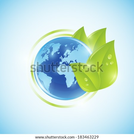 Blue world globe with green leaves  - stock vector