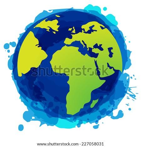 Blue world globe with splash effects - stock vector