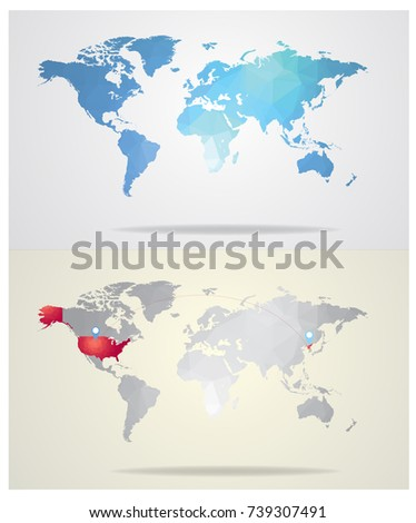 Blue world map gray world map stock vector 739307491 shutterstock blue world map and gray world map highlight red usa and north korea in geometric gumiabroncs Image collections