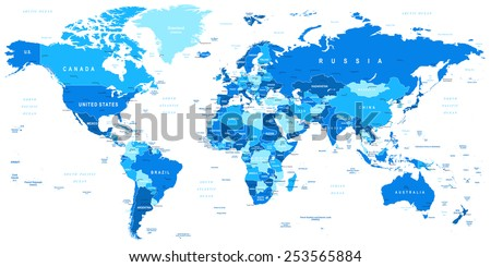 Blue world map borders countries cities vector de stock253565884 blue world map borders countries and cities illustration highly detailed vector illustration of gumiabroncs Image collections