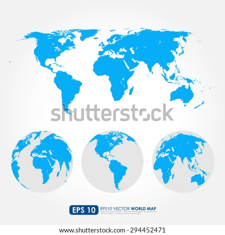 Blue world map collection with flat detailed world map and world maps on the globes - stock vector
