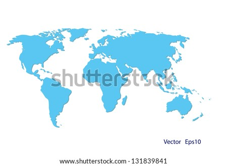 blue world map on white background,vector eps 10