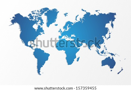 Blue World map shape isolated. EPS10 vector file organized in layers for easy editing. - stock vector