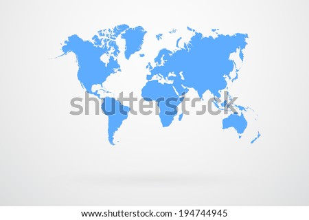 Blue World Map Vector - stock vector