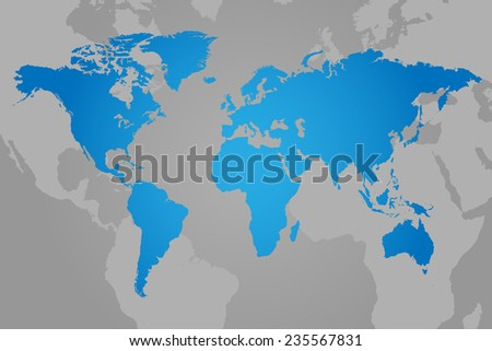 Blue World Map Vector Illustration - stock vector
