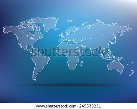 blue world map - vector illustration - stock vector