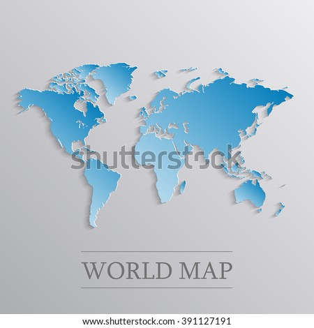 Blue world map with 3d effect.