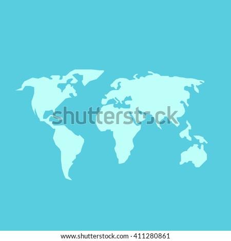 Blue world map. World map blank. World map vector. World map flat. World map template. World map object. World map eps. World map infographic. World map clean. World map art.  - stock vector