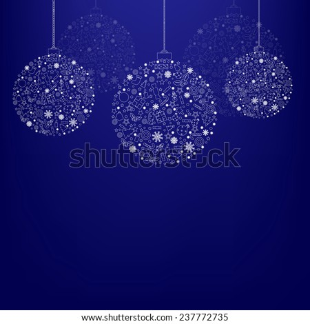 Blue Xmas Poster With Gradient Mesh, Vector Illustration - stock vector