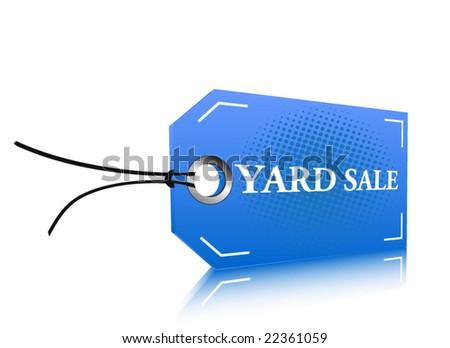Blue yard sale label - stock vector