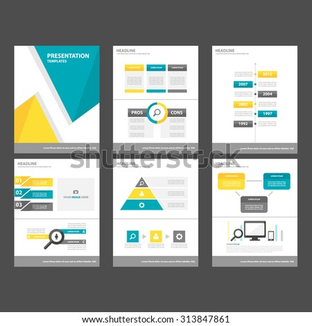 Blue Yellow Multipurpose Infographic elements and icon presentation template flat design set for advertising marketing brochure flyer leaflet - stock vector