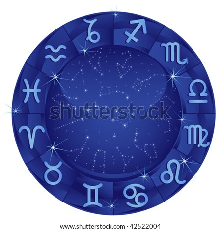 Blue zodiacal circle with zodiac sign - stock vector