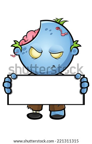Blue Zombie - Holding A Blank Sign - stock vector