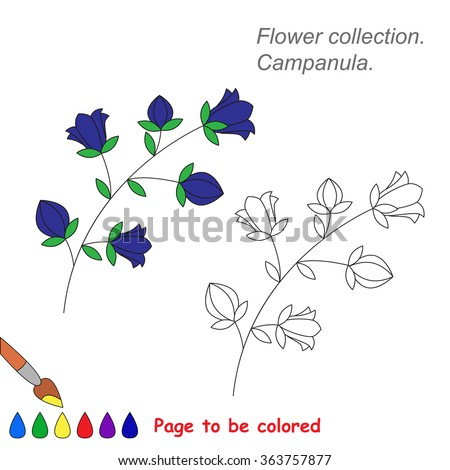 bluebell flower in vector cartoon to be colored coloring book for children