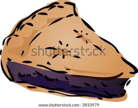 Blueberry desert Pie, hand drawn retro illustration - stock vector