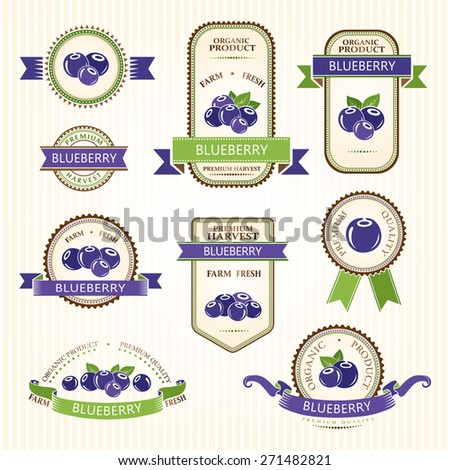 Blueberry labels. Fruits badges and stickers collection. - stock vector