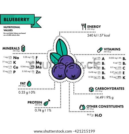 Blueberry - nutritional information. Healthy diet. Simple flat infographics with data on the quantities of vitamins, minerals, energy and more.