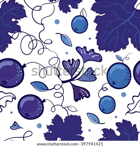 Blueberry pattern, illustration, background, plants, blue, for textile - stock vector