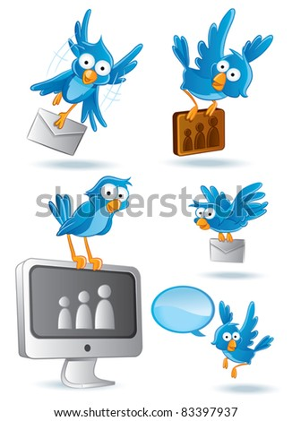 Bluebird Cartoon illustration - stock vector