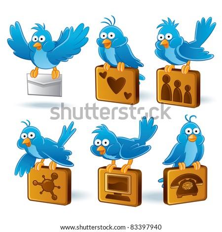 Bluebird Cartoon illustration - stock vector