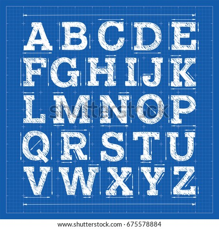 Blueprint alphabet technical font outline letters stock vector blueprint alphabet technical font outline letters architecture slab serif typeface vector drafting malvernweather Gallery