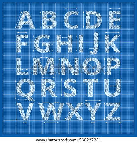 Blueprint stock images royalty free images vectors shutterstock blueprint alphabet vector drafting blueprint paper letters sketch alphabet artistic with arrow measurement illustration malvernweather Choice Image