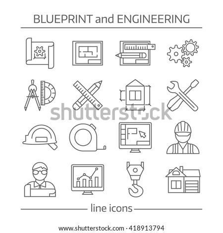 Blueprint engineering linear icons set gears stock vector 418913794 blueprint and engineering linear icons set with gears computer programs crane tools drafts schemes isolated vector malvernweather Choice Image