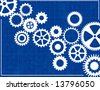 Blueprint Background with cogs - stock vector