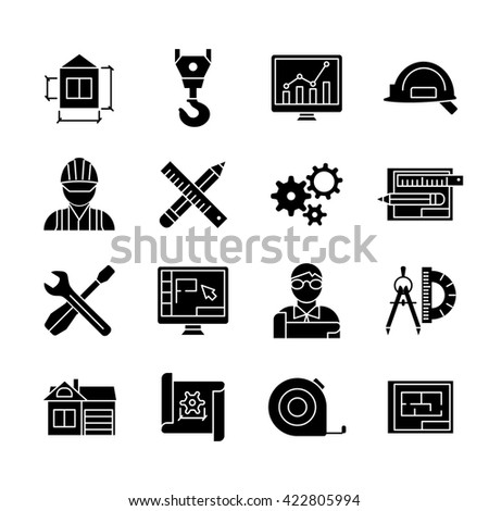 Blueprint black white flat icons set stock vector 422805994 blueprint black white flat icons set with buildings crane safety drawing meter professional software isolated vector malvernweather Images