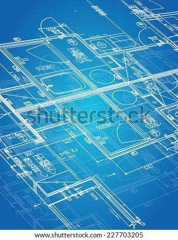 blueprint blueprint illustration design over a blue background - stock vector
